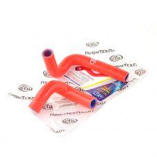 Патрубок радиатора отопителя ВАЗ 21073 инж. (к-т 2 шт.), силикон, красный ПТП